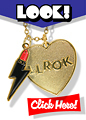 Buy your very own Souvenir Pendant necklace with Lightning Bolt Lipstick Logo - the last piece of jewellery made by lLady Luck Rules OK!